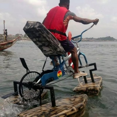 Ghanaian Guy Constructs Bicycle That Moves On Water