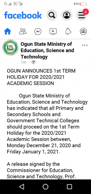 Ogun state ministry of education announces 1st term holiday for 2020/2021 session