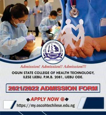 Ogun State College of Health Technology, 2021/2022 admission