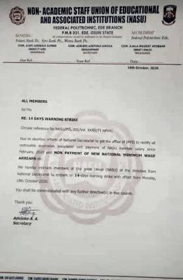 Non Academic staffs Federal polytechnic Ede chapter joins NASU strike