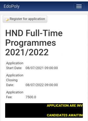 Edo State Poly HND, ND Part-time and certificate programme admissions, 2021/2022