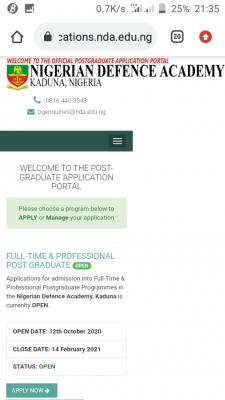 NDA extends postgraduate registration deadline for 2020/2021 session