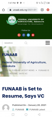 FUNAAB is set to resume, Says VC