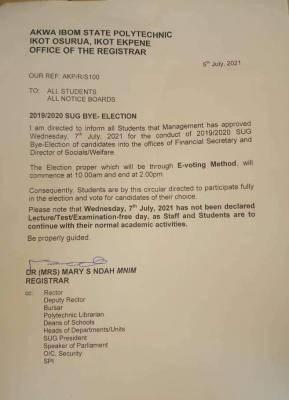 Akwa Poly notice on SUG bye-elections