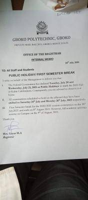 Gboko Polytechnic shifts examinations due to Sallah Break