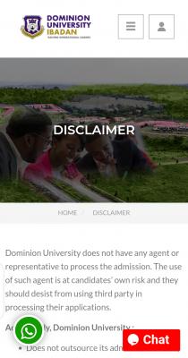 Dominion University Disclaimer Notice
