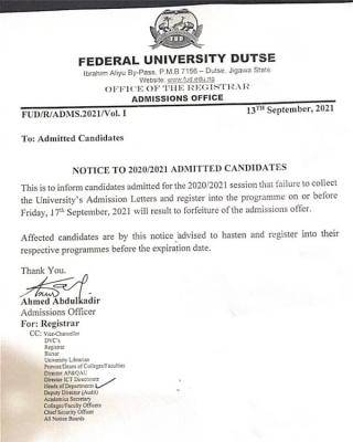FUDutse notice to to newly admitted students, 2020/2021