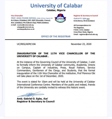 UNICAL announces inauguration of the 11th Vice-Chancellor of the University