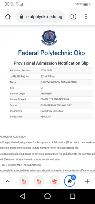 Fed Poly, Oko ND Full time admission list now on school portal, 2020/2021