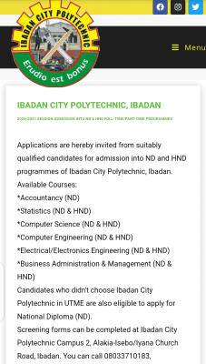 Ibadan City Polytechnic ND/HND Admission forms for 2020/2021 session