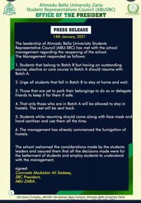 ABU Students' Representative Council notice on resumption
