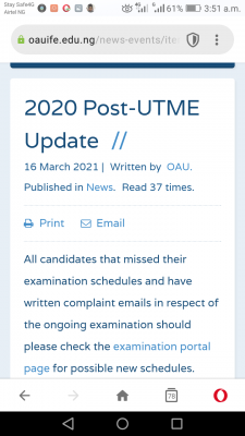 OAU notice to candidates who missed 2020 Post UTME screening