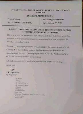 OYSCATECH postpones ongoing 1st semester exam for 2019/2020 session