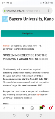 BUK screening exercise for newly admitted students, 2020/2021