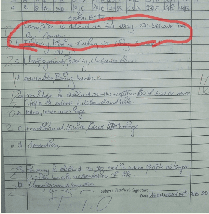 Checkout How a JSS 2 Student Defined Corruption
