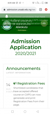 FUNAAB notice to new students on registration fees, 2020/2021