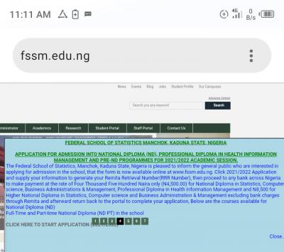 Federal School of Statistics, Manchok, Kaduna admission forms for 2021/2022 session