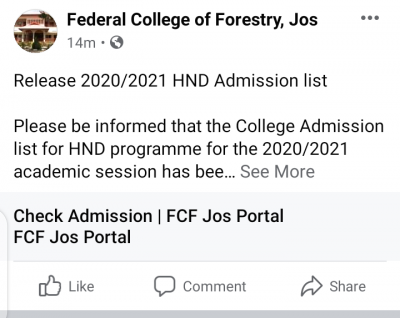 Federal College of Forestry, Jos HND admission list, 2020/2021 session