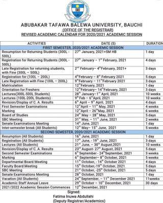 ATBU revised academic calendar for 2020/2021 session