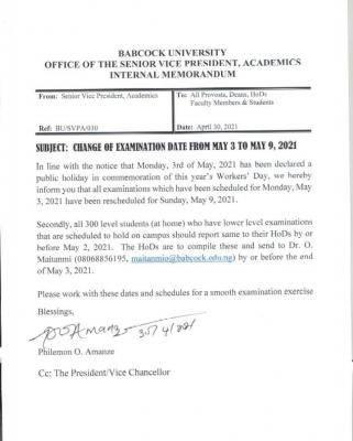 Babcock University notice on change of exam date