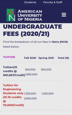 AUN undergraduate and post graduate fees 2020/2021