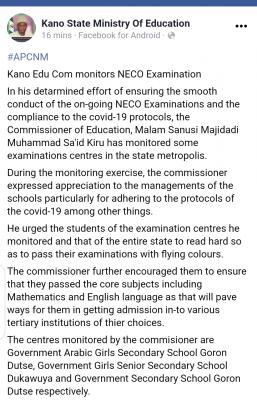 Kano state monitors NECO examination