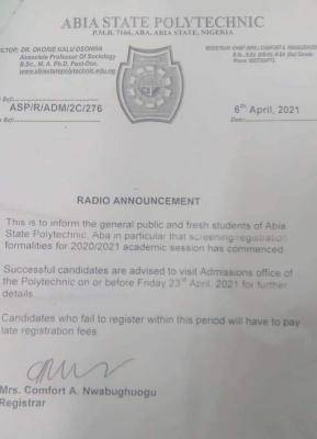 Abia State Poly notice to newly admitted students on screening exercise, 2020/2021
