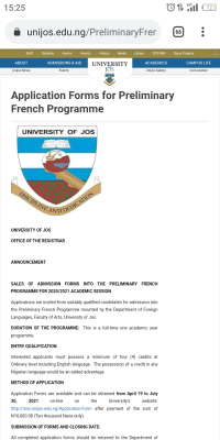 UNIJOS sales of admission forms into the preliminary French programme, 2020/2021