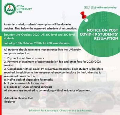 Atiba university announces resumption date