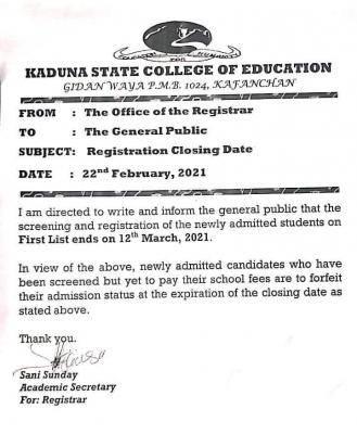 Kaduna State COE, Kafanchan registration deadline for new students