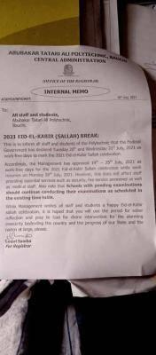 ATAP announces Sallah break
