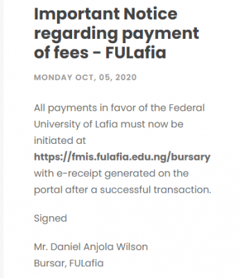Federal University of Lafia: Important Notice regarding payment of fees