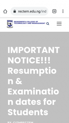 Redeemer's College of Technology and Management notice on resumption and exam date