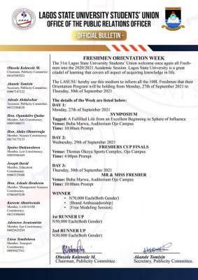 LASU SUG announces Freshmen Orientation week