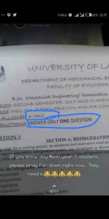 Viral photo of UNILAG Exam Question Paper That Got People Talking
