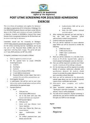 UNIMAID Post-UTME 2019: Cut-off mark, Eligibility and Registration Details