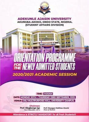 AAUA announces orientation ceremony for fresh students, 2020/2021