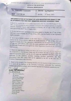 ESUT notice on first semester late registration fee