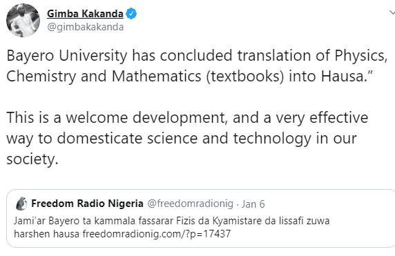 Bayero University Translates Physics, Chemistry and Mathematics textbooks into Hausa
