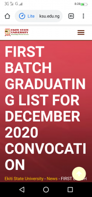 EKSU graduating list for December 2020 Convocation Ceremony and payment instructions