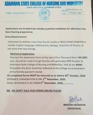 Adamawa state college of nursing and midwifery application form for 2020/2021