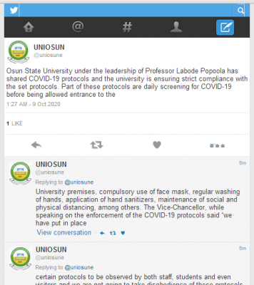 UNIOSUN notice to students on COVID-19 guidelines