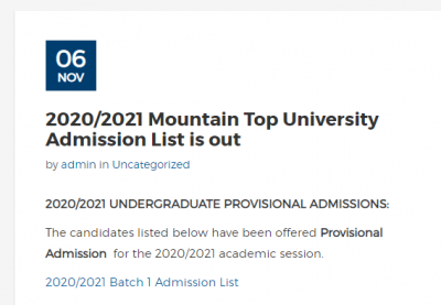 Mountain Top University 1st batch admission list for 2020/2021 session