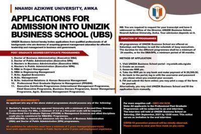 UNIZIK Business School admission form