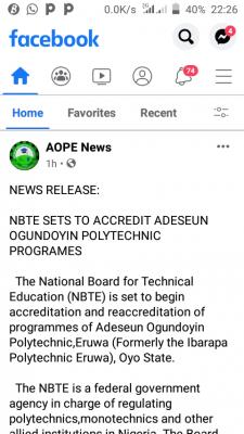 NBTE sets to accredit Adeseun Ogundoyin Polytechnic programmes