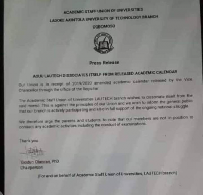 LAUTECH chapter of ASUU dissociates itself from the alleged academic calendar released by management