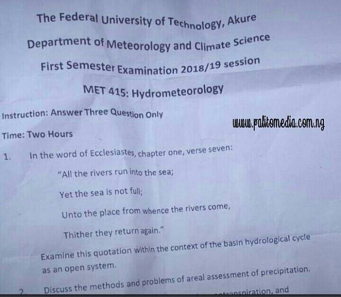 FUTA Quotes Bible Verse In Exam Question