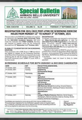 ABU Post-UTME/DE 2021: cut-off mark, eligibility and registration details