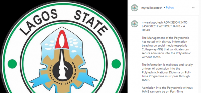LASPOTECH debunks rumour on admission without JAMB in the institution