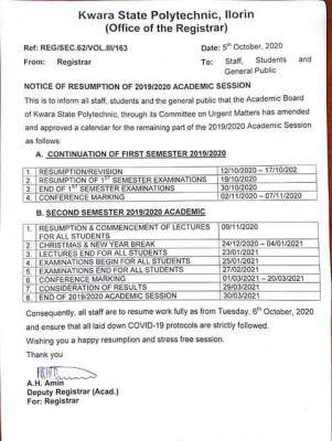 Kwara State Poly resumption date and calendar for completion of 2019/2020 session